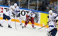Yohann Auvitu / Teddy Da Costa / Petr Koukal - 07.05.2015 - Republique Tcheque / France - Championnat du Monde de Hockey sur Glace <br />Photo : Xavier Laine / Icon Sport