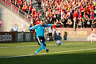 August 4, 2012: Colorado Rapids goalkeeper Matt Pickens (18) kicks the ball in the first half of the Rapids game against Real Salt Lake at Dick's Sporting Goods Park in Denver, Co.