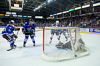 KELOWNA, CANADA - AUGUST 31:  Jack Cowell #8 of the Kelowna Rockets scores a second period goal against Brock Gould #1 of the Victoria Royals on August 31, 2018 at Prospera Place in Kelowna, British Columbia, Canada.  (Photo by Marissa Baecker/Shoot the Breeze)  *** Local Caption ***