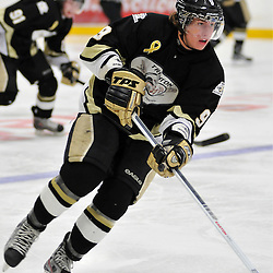 TRENTON, ON - Oct 26: Ontario Junior Hockey League game between Wellington Dukes and Trenton Golden Hawks. Jordan Minello #9 of the Trenton Golden Hawks during first period game action..(Photo by Shawn Muir / OJHL Images)