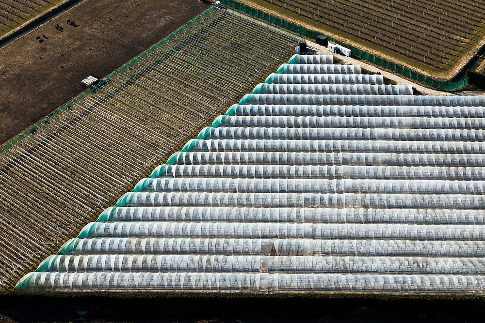 Nederland, Gelderland, Gemeente Maasdriel, 07-03-2010. Bommelerwaard,  tunnels voor de landbouw.luchtfoto (toeslag), aerial photo (additional fee required).foto/photo Siebe Swart