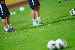 Shoes during practice session of Slovenian National football team prior to the friendly match against Former Yugoslav republic of Macedonia on November 12, 2012 in Domzale, Slovenia. (Photo By Vid Ponikvar / Sportida)