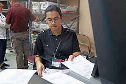 Election workers recount votes during the Florida midterm election recount on Tuesday, November 13, 2018, at the Broward Supervisor of Elections office in Lauderhill, FL, USA. Photo by Christian Colon/Miami Herald/TNS/ABACAPRESS.COM