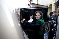 MP Ms. Fawzia Koofi gets in her car after a discussion event with members of civil society from her home province Badakshan for which she is one of 9 Parliament representatives. Faizabad, Afghanistan, 2012