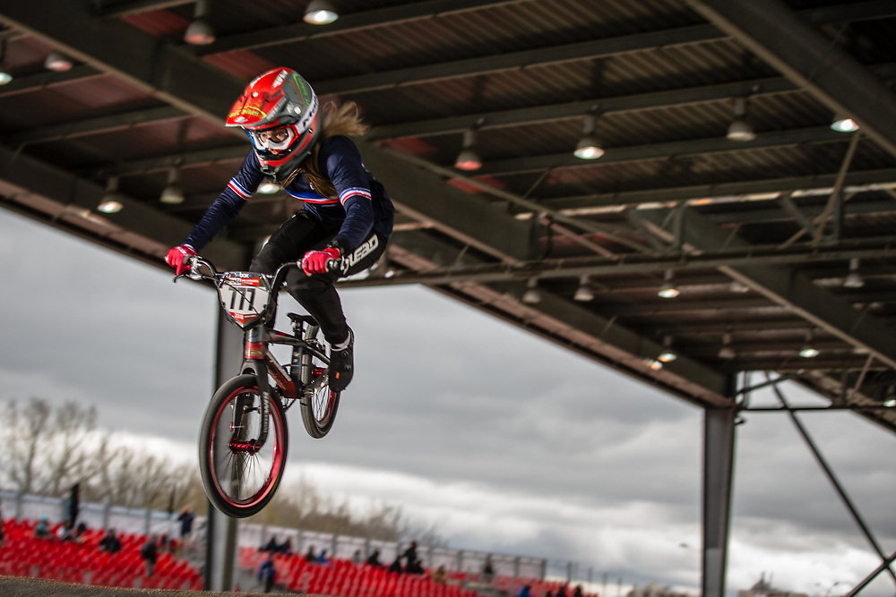 #777 (MAIRE Camille) FRA at the 2018 UCI BMX Superscross World Cup in Saint-Quentin-En-Yvelines, France.