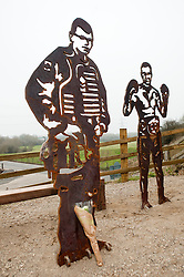 "Statue of Cpl Liam Riley who Prince Harry Described as ""a Legend""..Cpl Liam Rileys mum Cheryl and his sister Olivia paid tribute to Liam who was killed in killed in Helmand province Afghanistan on 1 February 2010 while serving with 3rd Battalion The Yorkshire Regiment (3 YORKS) this morning during the unveiling of The Portrait Bench at Killamarsh. Statues standing along side Liam are Sheffield Boxer and former British, Commonwealth, European and World titles holder Clinton Woods and Local Community volunteer worker Colin Savage..http://www.pauldaviddrabble.co.uk.14 March 2012 .Image © Paul David Drabble"