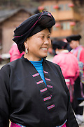 Woman from Yao minority nationality with traditional long hair according to folk custom, Ping An, Guilin, China