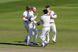Jack Leach of Somerset (2L) celebrates after bowling out Laurie Evans of Warwickshire for 73 - Mandatory byline: Rogan Thomson/JMP - 07966 386802 - 24/09/2015 - CRICKET - The County Ground - Taunton, England - Somerset v Warwickshire - Day 3 - LV= County Championship Division One.