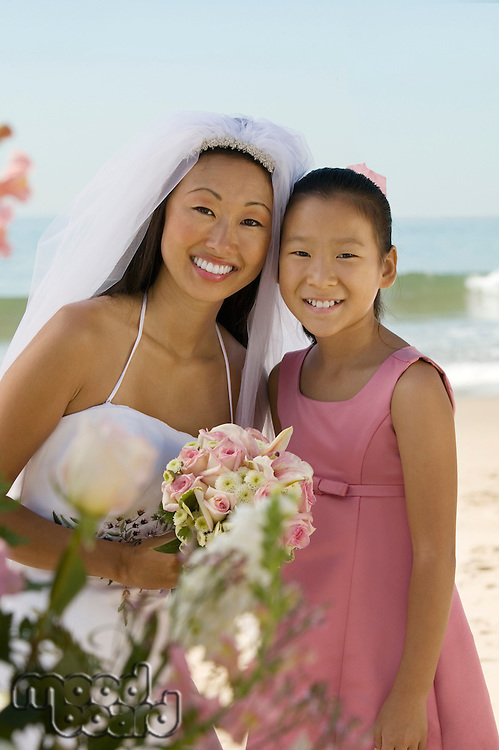 Bride and Sister on Beach