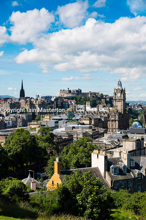 Skyline of city of Edinburgh from Calton Hill in Scotland United Kingdom