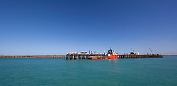 A ship docked at the Broome jetty
