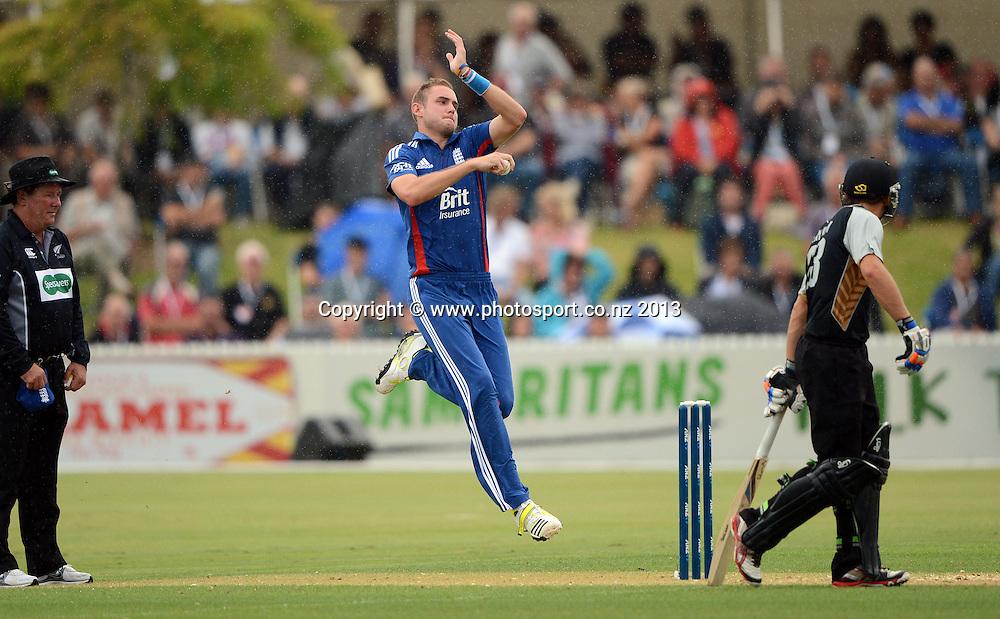 Stuart Broad bowling. Twenty20 Cricket. England v NZ XI. England Cricket tour to New Zealand. Cobham Oval. Whangarei, New Zealand on Monday 4 February 2013. Photo: Andrew Cornaga/Photosport.co.nz