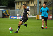Gareth O&rsquo;Brien of Toronto Wolfpack kicks the goal during the Betfred Super 8s Qualifiers match at Shay Stadium, Halifax<br /> Picture by Stephen Gaunt/Focus Images Ltd +447904 833202<br /> 12/08/2018