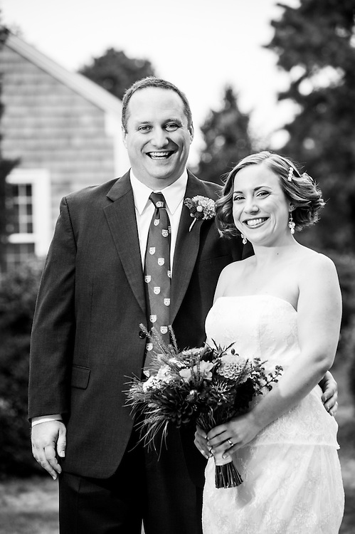 A bride and groom in Chatham, MA.