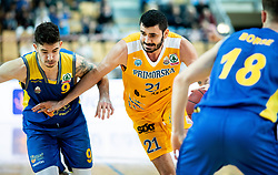 Nik Dragan of Hopsi Polzela vs Marko Jagodic Kuridza of Sixt Primorska during basketball match between KK Sixt Primorska and KK Hopsi Polzela in final of Spar Cup 2018/19, on February 17, 2019 in Arena Bonifika, Koper / Capodistria, Slovenia. Photo by Vid Ponikvar / Sportida