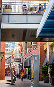 Alleyway vignette of the Epicentre district in Uptown Charlotte, North Carolina