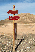 Footpath signs by Montana de Tindaya, Fuerteventura, Canary Islands, Spain