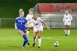 NORMAL, IL - October 17:  Katie Sidloski & Logan Ziegler during an NCAA Missouri Valley Conference (MVC)  women's soccer match between the Indiana State Sycamores and the Illinois State Redbirds October 17 2018 on Adelaide Street Field in Normal IL (Photo by Alan Look)