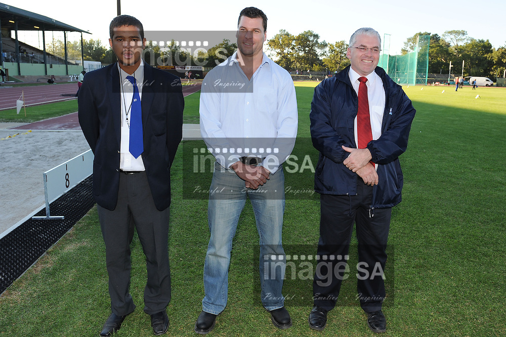 STELLENBOSCH, South Africa - Saturday 13 April 2013, Wesley Newman, Marcus Le Grange and James Evans during day 2 of the South African Senior Athletics championships at the University of Stellenbosch's Coetzenburg stadium.Photo by Roger Sedres/ ImageSA