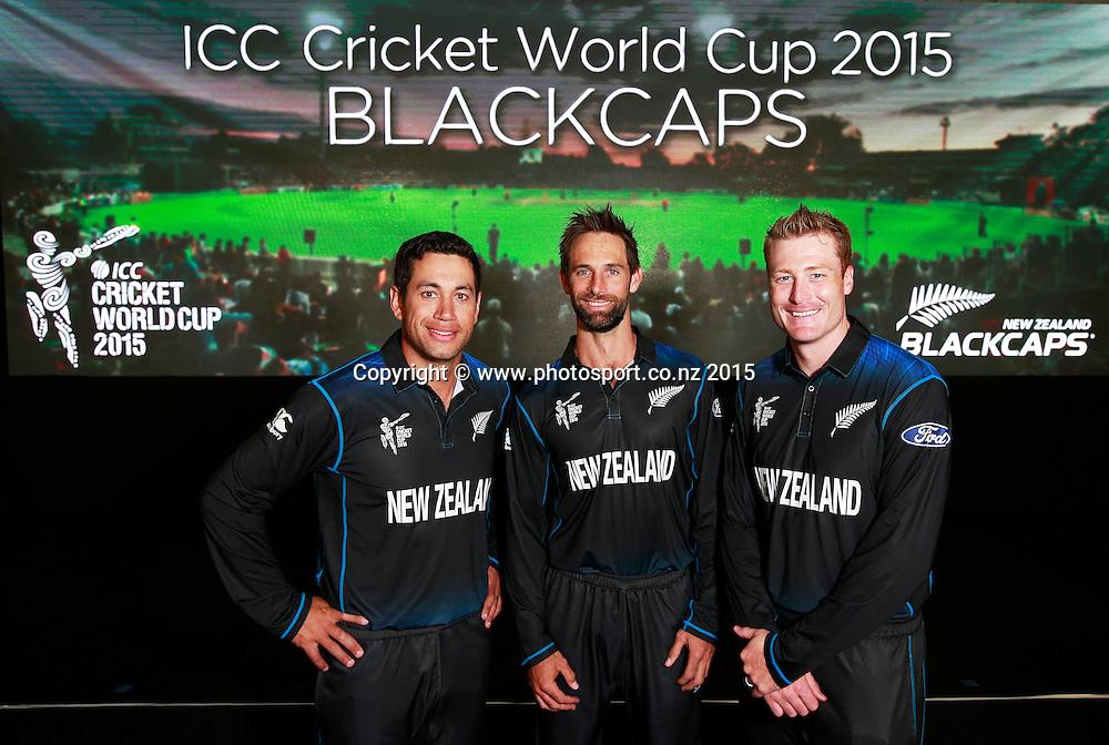 Ross Taylor, Grant Elliott and Martin Guptill following the Black Caps Cricket World Cup team naming held in the Hagley Pavillion in Christchurch. 8 January 2015 Photo: Joseph Johnson / www.photosport.co.nz