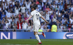 March 16, 2019 - Madrid, Madrid, Spain - Real Madrid CF's Gareth Bale seen celebrating after scoring a goal during the Spanish La Liga match round 28 between Real Madrid and RC Celta Vigo at the Santiago Bernabeu Stadium in Madrid. (Credit Image: © Manu Reino/SOPA Images via ZUMA Wire)