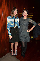 Left to right, GIA COPPOLA and SADIE FROST at a dinner hosted by Liberatum to honour Francis Ford Coppola held at the Bulgari Hotel & Residences, 171 Knightsbridge, London on 17th November 2014.