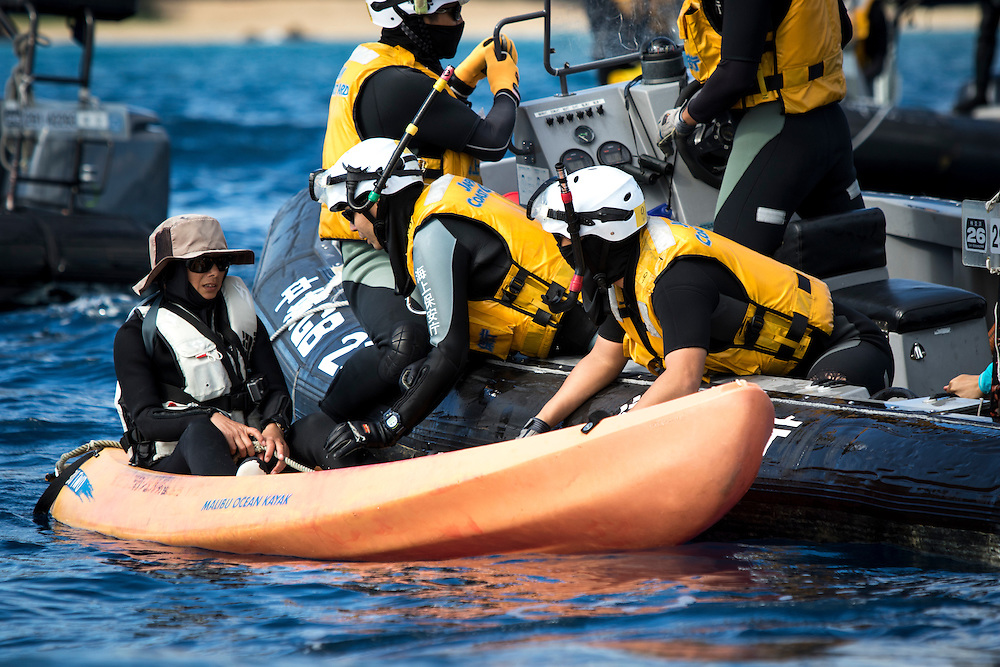 OKINAWA, JAPAN - JANUARY 19 : Japan Coast Guard stop Anti-US activist from disrupting the workers of the US Airbase rellocation in Oura Bay, Camp Schwab, Henoko, Nago, Okinawa Prefecture, Japan on Janaury 19, 2017. The scheduled reclamation area for new the construction totals 160 hectares and will include 2 runways. Construction of the new base will require 21 million cubic meters of soil, enough to fill the Okinawa Prefectural Office 70 times, 17 million tons of which will be hauled in from Kyushu and Shikoku. (Photo by Richard Atrero de Guzman/NURPhoto)