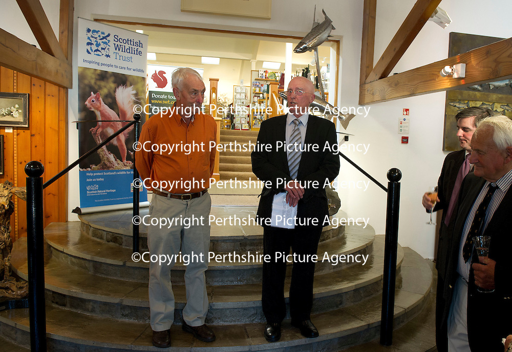 FREE TO USE PHOTOGRAPH....The House of Bruar Helping Scottish Wildlife Trust's Saving Scotland's Red Squirrels Campaign<br /> Pictured Alan Bantick (right) Chairman of SWT speaks to the guests at the House of Bruar alongside sculpter Eddie Hallam whose work is sold through the Gallery at House of Bruar<br /> For further info see press release from Greg Tinker at Scottish Wildlife Trust<br /> Picture by Graeme Hart.<br /> Copyright Perthshire Picture Agency<br /> Tel: 01738 623350  Mobile: 07990 594431