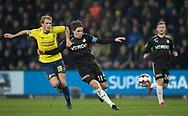FODBOLD: Nikolai Laursen (Brøndby IF) og Erik Marxen (Randers FC) kæmper om bolden under kampen i Superligaen mellem Brøndby IF og Randers FC den 24. februar 2019 på Brøndby Stadion. Foto: Claus Birch.