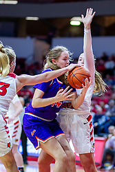 NORMAL, IL - January 05: Hannah Kelle dislodges a ball controlled by Abby Feit during a college women's basketball game between the ISU Redbirds and the Purple Aces of University of Evansville January 05 2020 at Redbird Arena in Normal, IL. (Photo by Alan Look)