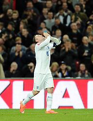 Wayne Rooney of England (Manchester United) celebrates his goal  - Photo mandatory by-line: Joe Meredith/JMP - Mobile: 07966 386802 - 15/11/2014 - SPORT - Football - London - Wembley - England v Slovenia - EURO 2016 Qualifier