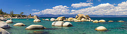 """Whale Rock, Lake Tahoe 3"" - Stitched panoramic photograph of the famous Whale Rock and other boulders at Whale Beach, on the East Shore of Lake Tahoe."