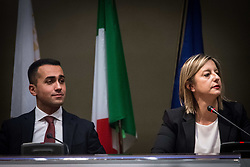 January 30, 2018 - Rome, Italy, Italy - 5-Star Movement Prime Minister candidate Luigi Di Maio, left, listens to Lazio Region Governor's candidate Roberta Lombardi during their political program presentation to journalists in view of the upcoming general elections in Rome, Tuesday, Jan. 30, 2018. On March 4, Italians will cast ballots for Parliament, a national election that will also help determine their new government. (Credit Image: © Andrea Ronchini/NurPhoto via ZUMA Press)