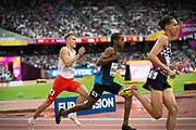 Refugee Athletes team member Ahmed Bashir Farah competes in the 800m heat at the World Athletics Championship in London.