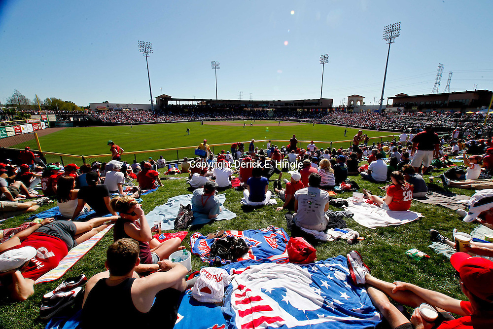 March 05, 2011; Clearwater, FL, USA; A general view from center field where Philadelphia Phillies fans watch the game from a picnic area during a spring training game against the New York Yankees at Bright House Networks Field. Mandatory Credit: Derick E. Hingle-US PRESSWIRE