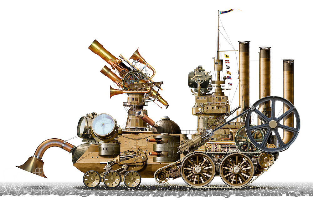 Highly detailed concept comic illustration of a 'search engine' in the Steampunk genre incorporating technology and aesthetic designs inspired by 19th-century industrial steam-powered machinery