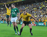 Luke Burgess celebrates scoring for Australia during action from the Rugby Union Test Match played between Australia and Ireland at Suncorp Stadium (Brisbane) on Saturday 26th June 2010 ~ Australia (22) defeated Ireland (15) ~ © Image Aura Images.com.au ~ Conditions of Use: This image is intended for Editorial use as news and commentry in print, electronic and online media ~ Required Image Credit : Steven Hight (AURA Images)For any alternative use please contact AURA Images