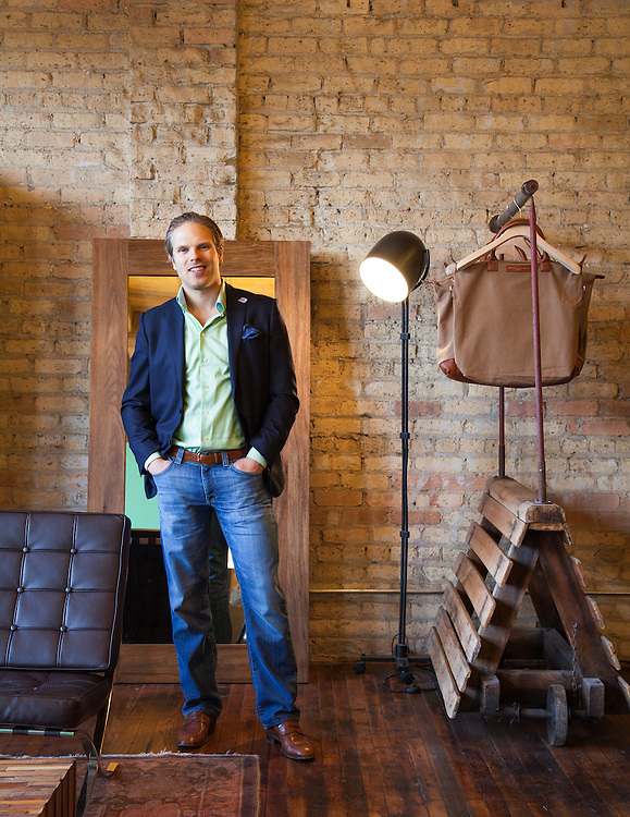 Brian Spaly is the CEO and founder of Trunk Club and was pictured in the companies headquarters in downtown Chicago on April 16, 2013.