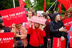 © Licensed to London News Pictures. 18/05/2017. London, UK. Labour supporters wait for Labour leader Jeremy Corbyn to arrive at a campaign rally in Southall, west London on the same day that Prime Minister Theresa May launched the Conservative Party manifesto. Photo credit: Tolga Akmen/LNP