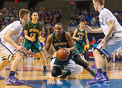 Huntington forward Jeffrey Howard (23) dives on a loose ball in the lane against Parkersburg South during the Class AAA championship game at the Charleston Civic Center.