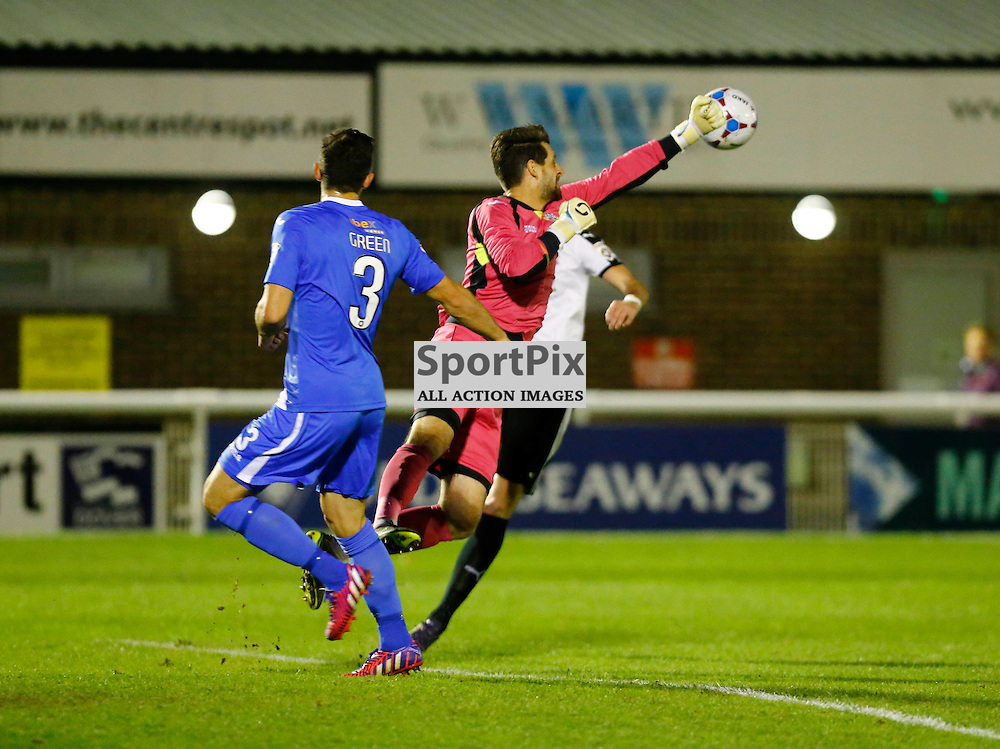 Eastleigh's keeper Ross Flitney (1) forced to punch the ball away. Dover Athletic v Eastleigh. Vanarama National League. 10  November 2015. (c) Matt Bristow | SportPix.org.uk