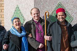 "© Licensed to London News Pictures. 03/02/2017. London, UK. (L to R) Rabbi Laura Naomi Janner-Klausner, Bishop of Edmonton Rob Wickham and Imam Ajmal Masroor join a human circle of solidarity forming outside Wightman Road mosque in north London during Friday prayers in an event backed by a coalition of faith groups, including members of Reform Judaism, the Christian Muslim Forum and Faiths Forum for London.  The aim is to ""stand with our Muslim brothers and sisters at this time of international turbulence"", say the organisers. Photo credit : Stephen Chung/LNP"