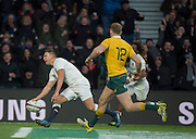 Twickenham, United Kingdom. Ben YOUNGS , touching down,  during the Old Mutual Wealth Series Rest Match: England vs Australia, at the RFU Stadium, Twickenham, England, <br /> <br /> Saturday  03/12/2016<br /> <br /> [Mandatory Credit; Peter Spurrier/Intersport-images]