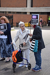 Norwich pensioners protest outside BBC offices at the cut in free tv licences for pensioners. In a measure to save the BBC £500m, free television licences will no longer be a universal benefit for pensioners from June 1, 2020