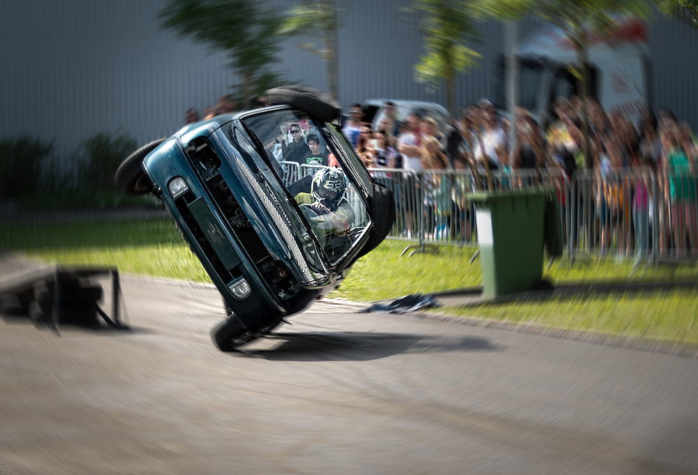 Overturning car stunt