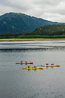 Sea kayaking, Patterson Bay,  Inside Passage, Southeast Alaska USA.