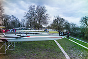 London. United Kingdom. Crews preparing to boating for the 2018 Women's Head of the River Race.  location Barnes Bridge, Championship Course, Putney to Mortlake. River Thames, <br />