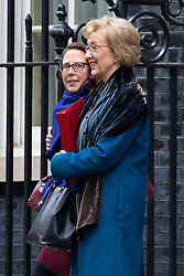 © Licensed to London News Pictures. 29/01/2019. London, UK. Lord Privy Seal and Leader of the House of Lords Baroness Natalie Evans and Leader of the House of Commons Andrea Leadsom leave 10 Downing Street after attending a Cabinet meeting this morning. Photo credit : Tom Nicholson/LNP