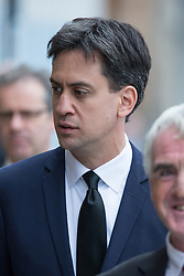 © Licensed to London News Pictures . 20/09/2014 . Manchester , UK . ED MILIBAND . Arrivals at the funeral of Heywood and Middleton MP Jim Dobbin at Salford Cathedral today (Saturday 20th September 2014) . Photo credit : Joel Goodman/LNP