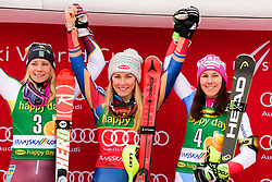 January 7, 2018 - Kranjska Gora, Gorenjska, Slovenia - Winners of Slalom race on podium celebrating at the 54th Golden Fox FIS World Cup in Kranjska Gora, Slovenia on January 7, 2018. From left: Frida Hansdotter of Sweden, Mikaela Shiffrin of United States of America and Wendy Holdener of Switzerland. (Credit Image: © Rok Rakun/Pacific Press via ZUMA Wire)